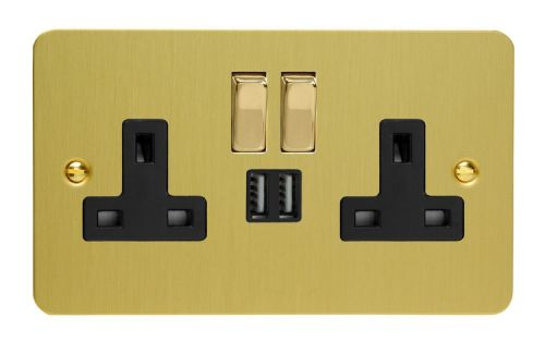 Varilight XFB5U2SDB Ultraflat Brushed Brass 2 Gang Double 13A Switched Plug Socket 2.1A USB